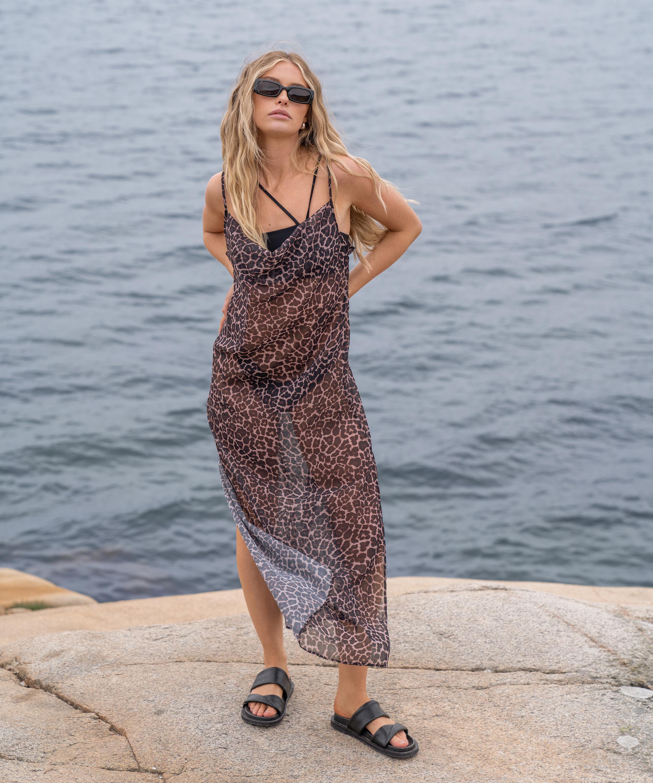 Strandklänning i midi-längd djursheer HKM x NA-KD, Brun, main