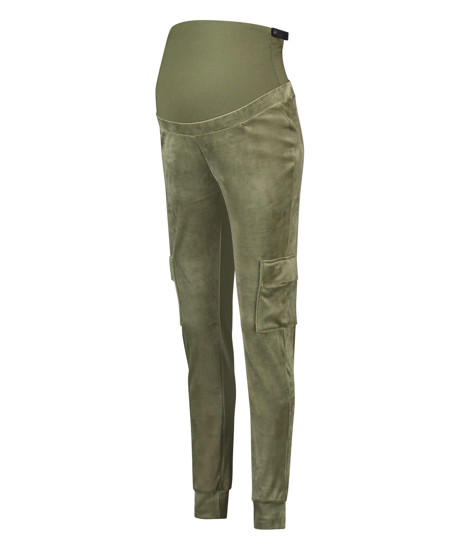 Mamma-joggingbyxa i velour, grön, main
