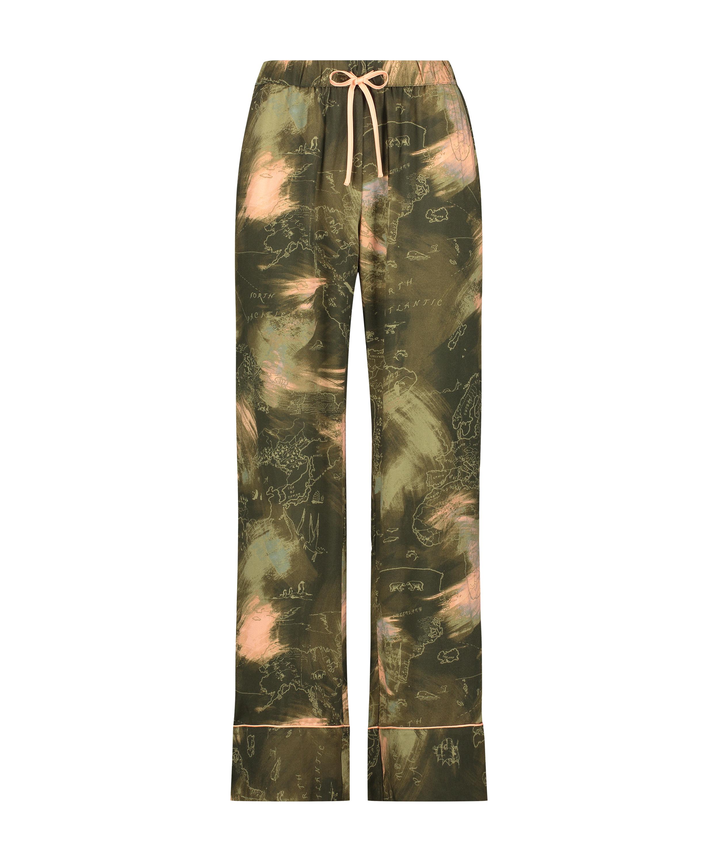 Petite Pyjamasbyxor med världskarta, grön, main