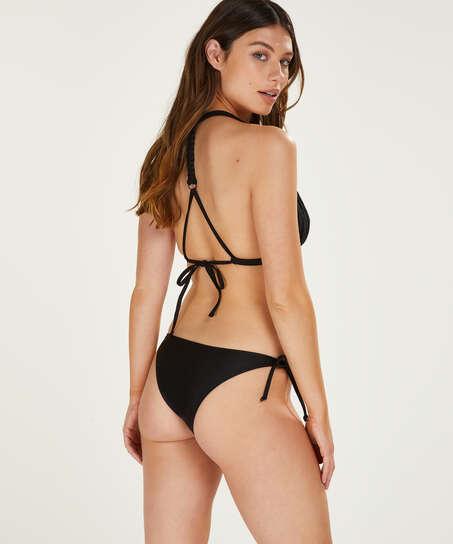 Macrame djärvt skuren tanga-bikiniunderdel, Svart