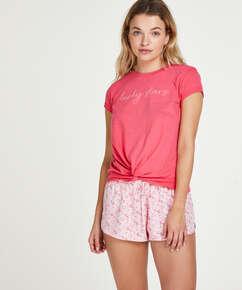 Kortärmad Jersey Knot pyjamastop., röd