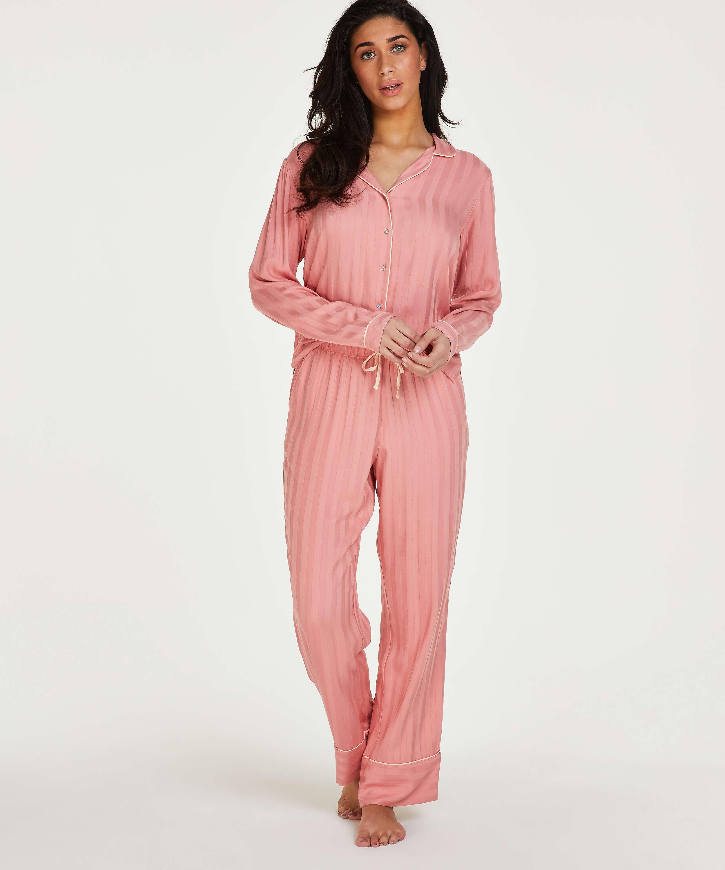 Tall Stickade pyjamasbyxor, Rosa, main