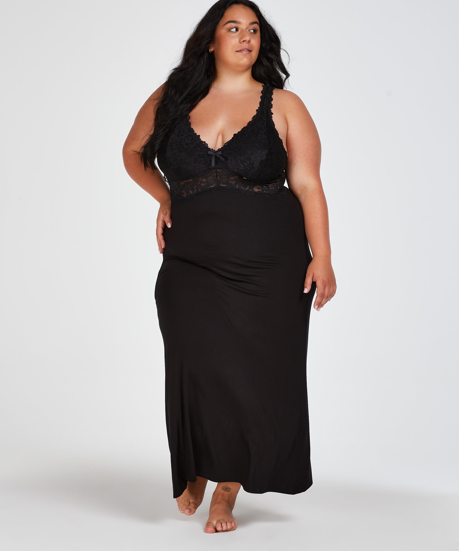 Nora Lace slipklänning, Svart, main
