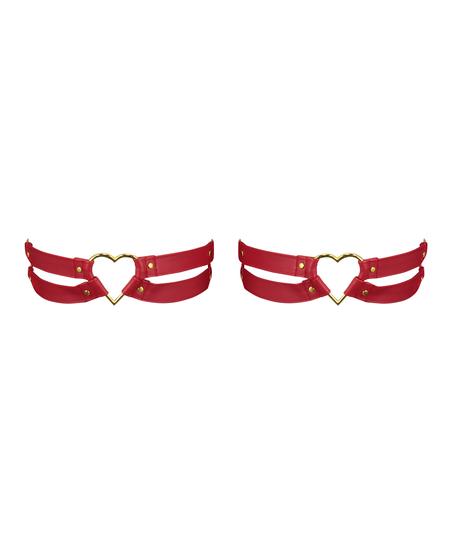 Heart private strumpebandshållare, röd
