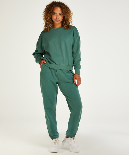 Borstad långärmad boyfriend-tröja, grön