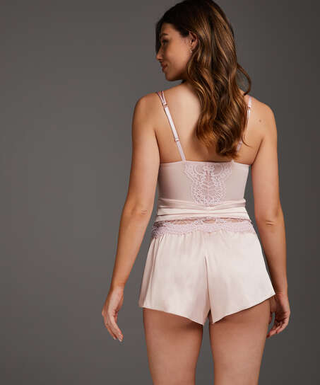 Amelia Tap Satin Shorts, Rosa