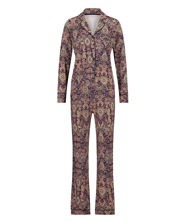 Paisleymönstrat pyjamasset, blå, main