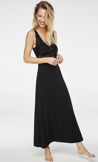 Lång underklänning Modal Lace, Svart