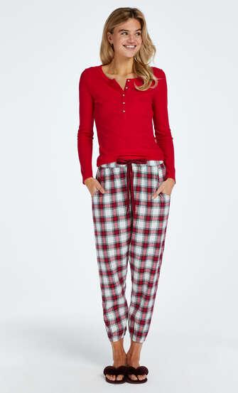 Rutiga pyjamasbyxor twill, röd