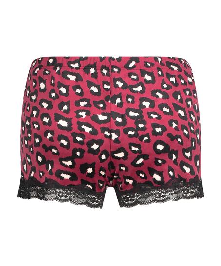 Shorts i sammet och spets, röd