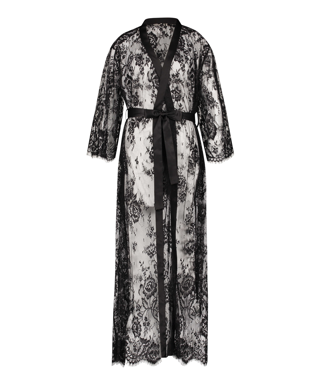 Lång kimono Allover Lace, Svart, main