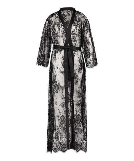 Lång kimono Allover Lace, Svart