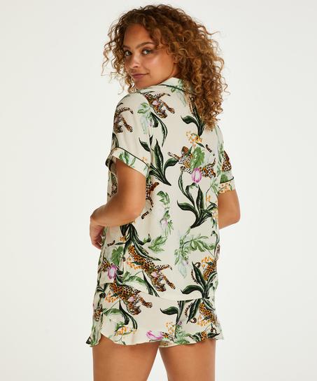 Kortärmad pyjamastopp med Print, Rosa