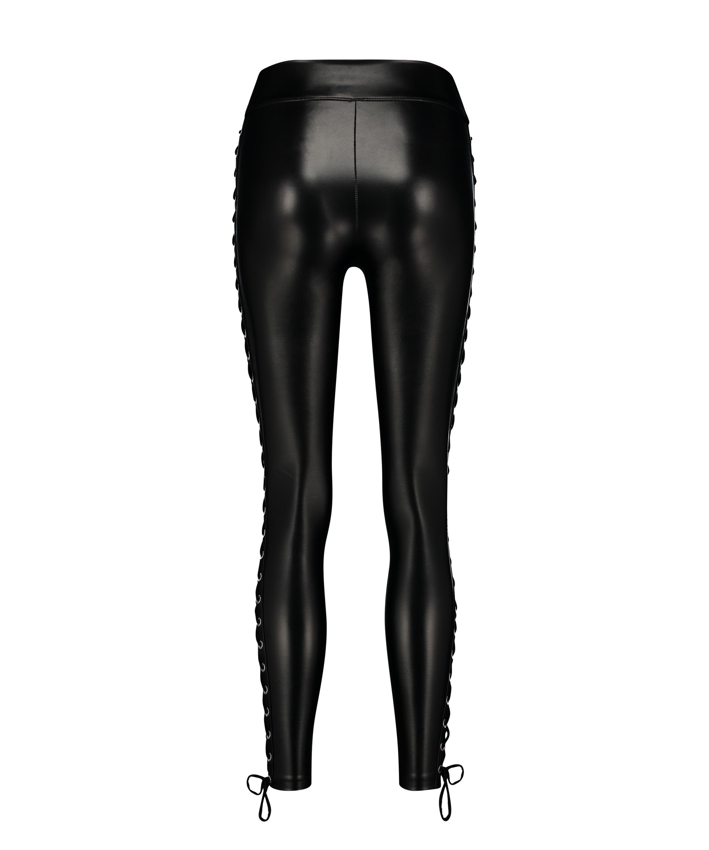 Leggings med snörning, Svart, main