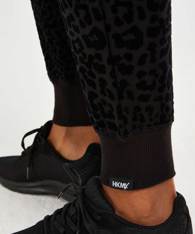 HKMX leopardmönstrade joggingbyxor, Svart, main