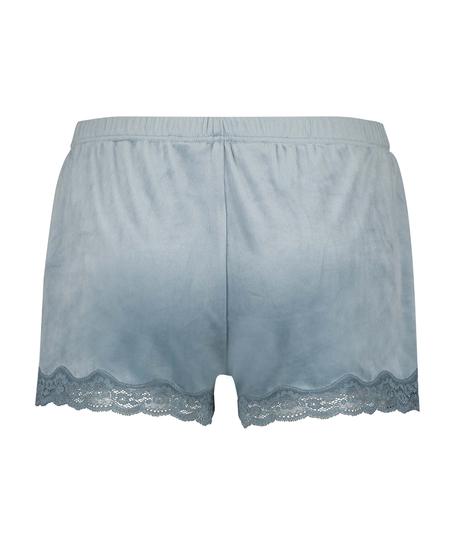 Shorts i sammet och spets, blå