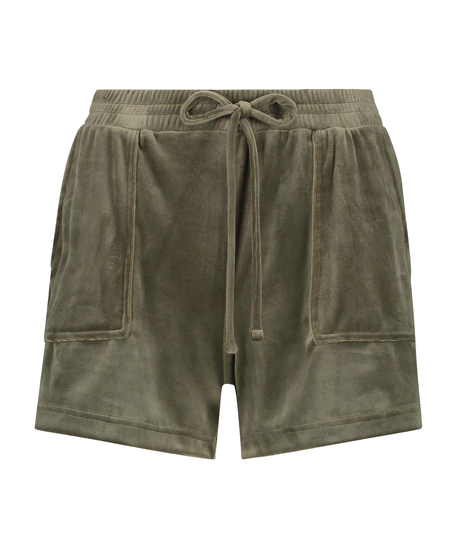 Sammetsshorts med ficka, grön, main