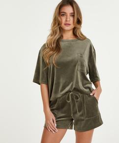 Sammetsshorts med ficka, grön