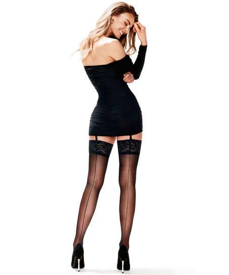 Lace Backseam 15-denier stockings, Svart