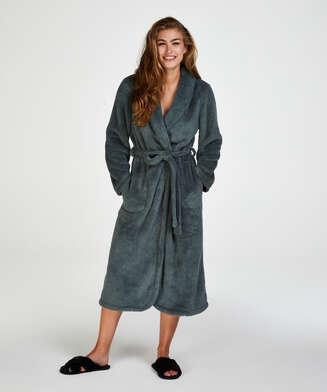 Lång morgonrock Fleece, grön