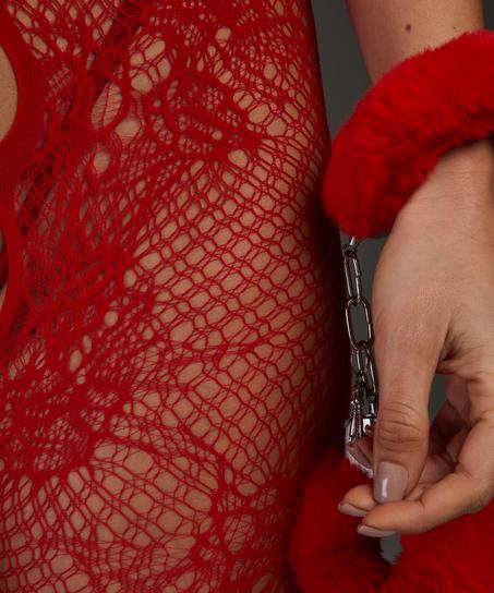 Private catsuit med öppen spets, röd
