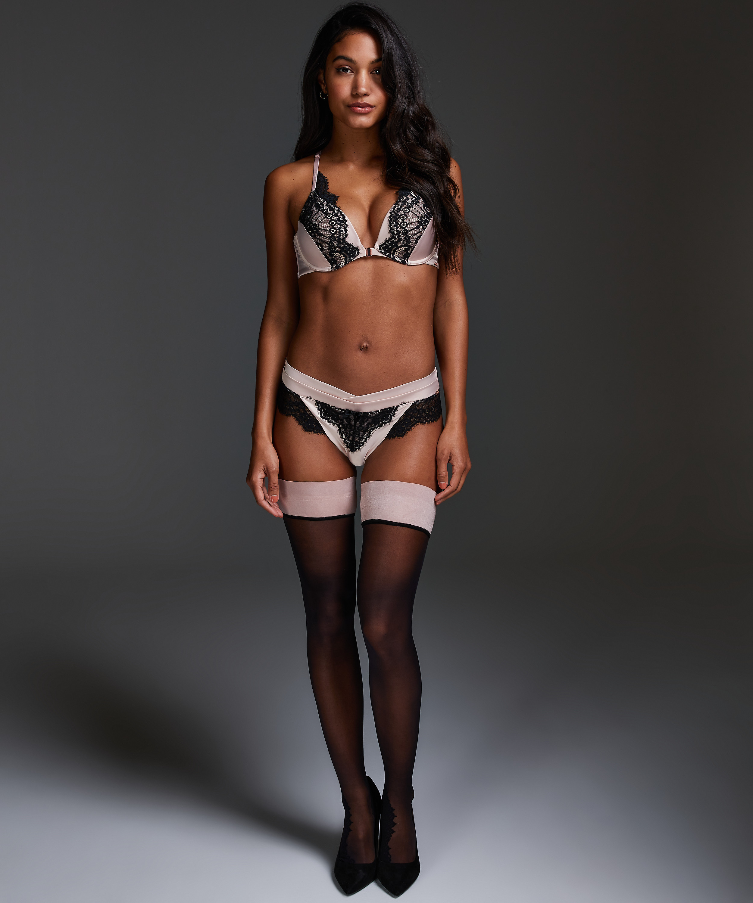 Noir Stay-up Delicate Lace, Rosa, main