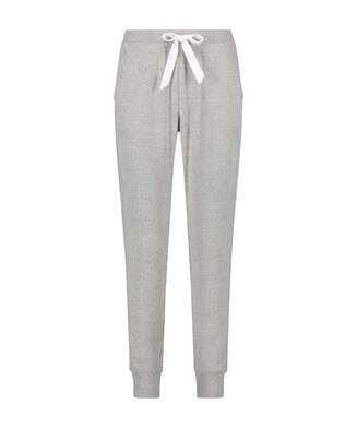 Pyjamasbyxor i uppruggad ribbstickning, Grå