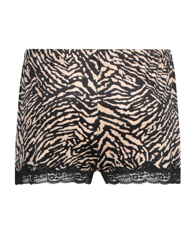 Zebra sammetsshorts, Svart, main