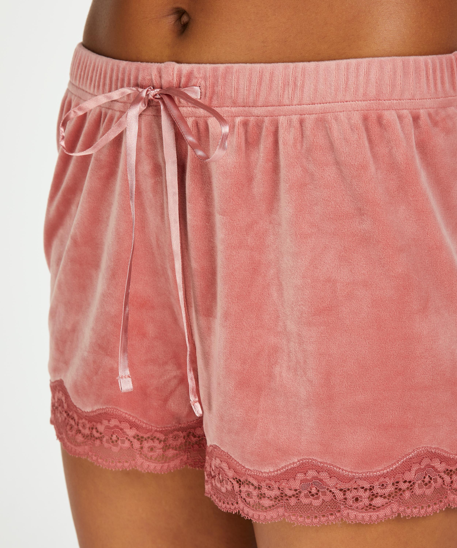 Shorts i sammet och spets, Rosa, main