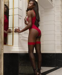 Effie 15 denier stay-ups, röd