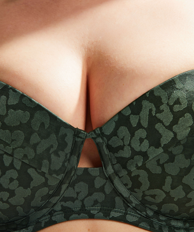 Formpressad bikinitopp med bygel Tonal Leo Storlek E +, grön, main