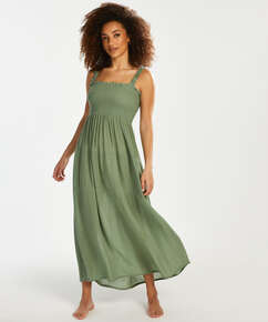Smocked maxiklänning, grön