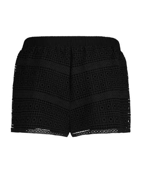 Virkade shorts, Svart