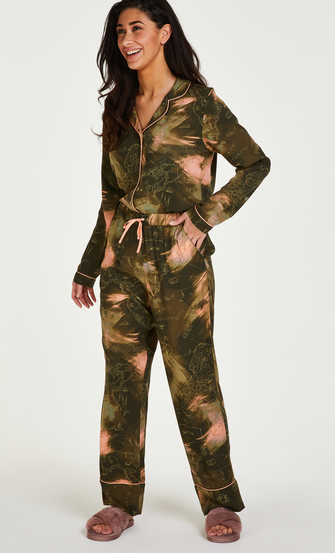 Tall Stickade pyjamasbyxor, grön