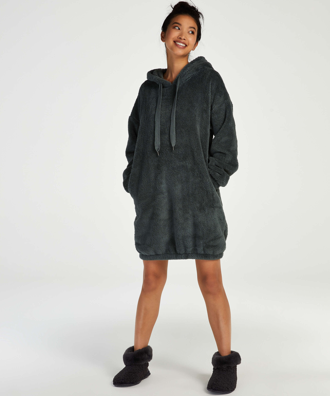 Snuggle fleece klänning, grön, main
