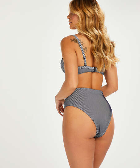 Ruffle djärvt skuren bikiniunderdel, blå