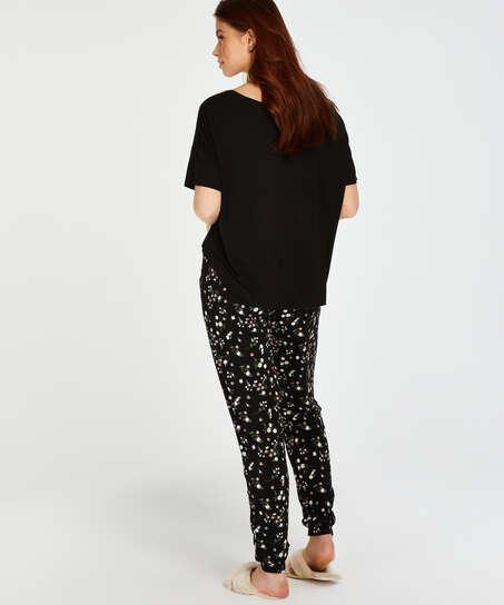 Tall Ditzy blommönstrade pyjamasbyxor, Svart