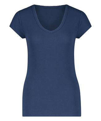 Kortärmad pyjamaströja i ribbtyg., blå