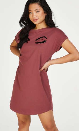 Nattskjorta med rund hals, Rosa