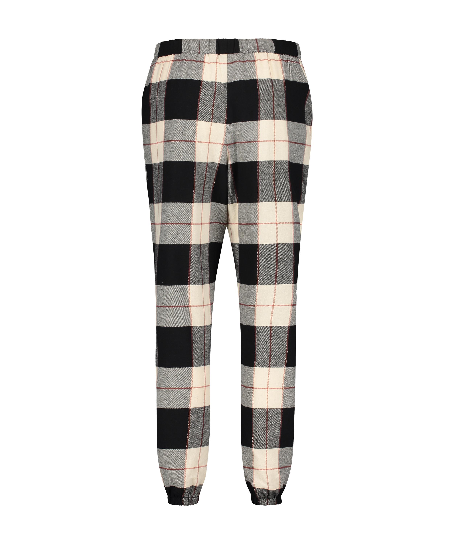 Twill Check pyjamasbyxor, Svart, main