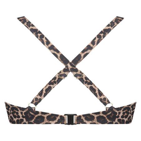Formpressad bikinitopp med bygel Leopard, Beige