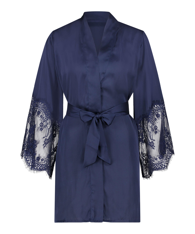 Kimono Satin, blå, main