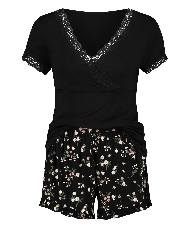 Ditzy blommönstrat pyjamasset för nyblivna mammor, Svart, main