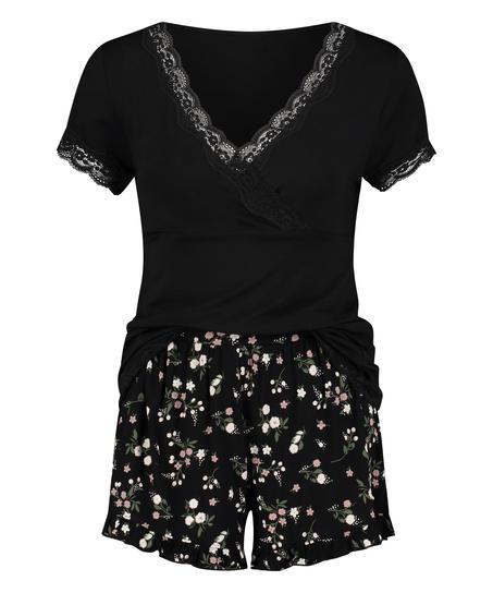 Ditzy blommönstrat pyjamasset för nyblivna mammor, Svart