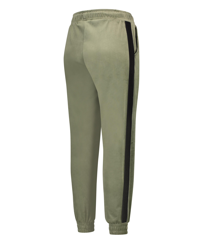 Malila HKMX joggingbyxor med hög midjga i velours, grön, main
