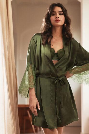 Hunkemöller Kimono Satin Lily grön