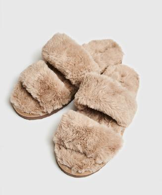 Tofflor Fake Fur, Brun