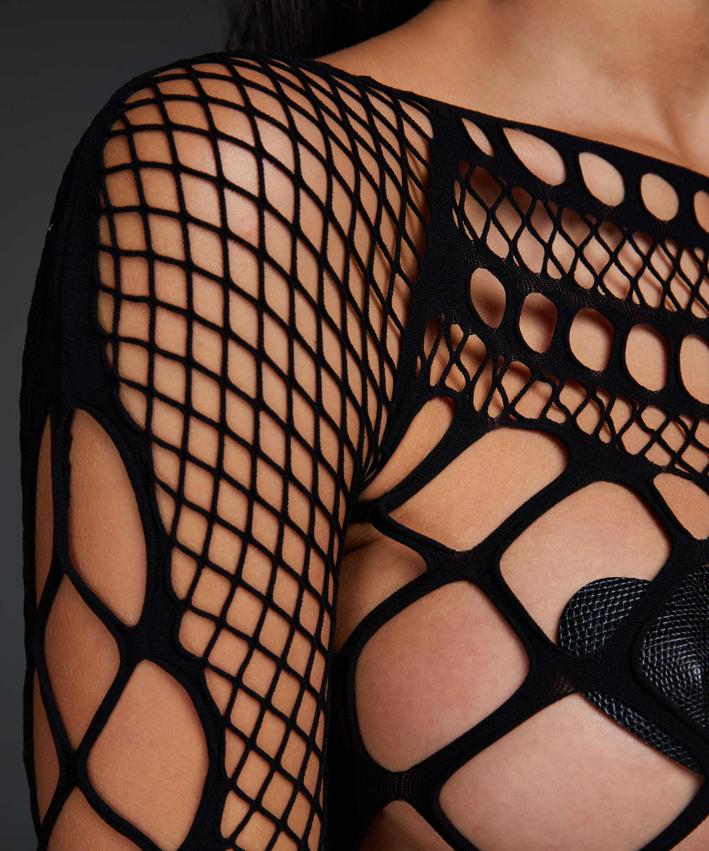 Private Chastity catsuit i fisknät  , Svart, main