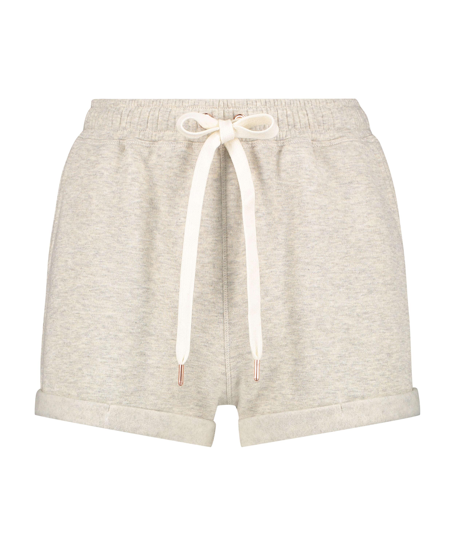 Shorts i borstad sweatshirt, Beige, main