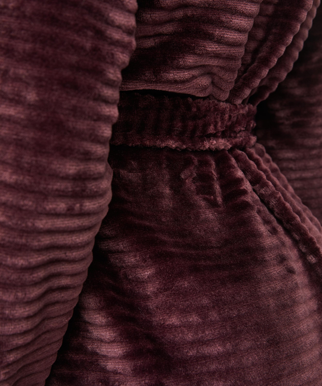 Ribbad badrock av fleece kort, röd, main